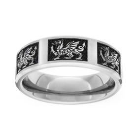 Titanium Brushed Welsh Dragon 6mm Ring