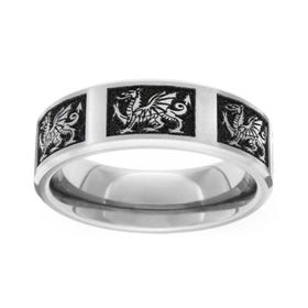 Titanium Brushed Welsh Dragon 7mm Ring