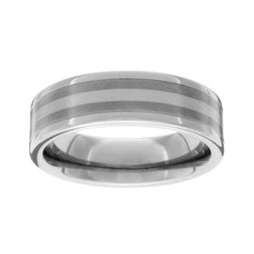 Titanium Platinum Stripe 7mm Ring