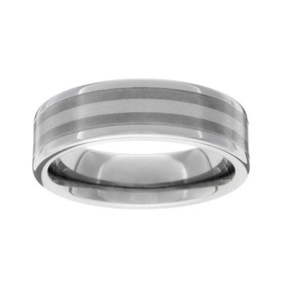 Titanium Platinum Stripe 7mm Ring