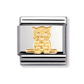 Stainless Steel and 18ct Gold Owl Classic Charm