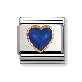 Blue September Birthstone Heart Classic Charm