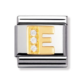 Stainless Steel, 18ct Gold and CZ Letter E Classic Charm