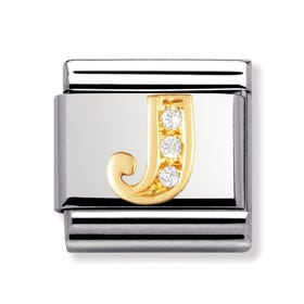 Stainless Steel, 18ct Gold and CZ Letter J Classic Charm