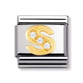 Stainless Steel, 18ct Gold and CZ Letter S Classic Charm