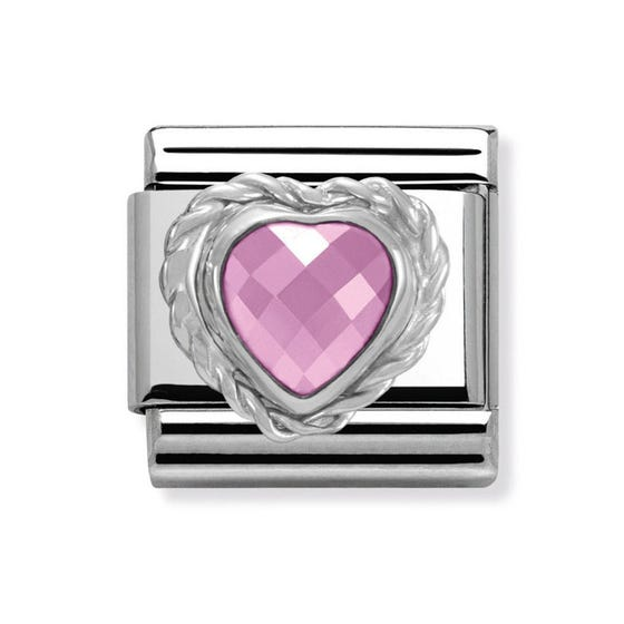 Pink Heart CZ Classic Charm