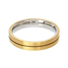 Titanium & 18ct Yellow Gold Ring 6mm