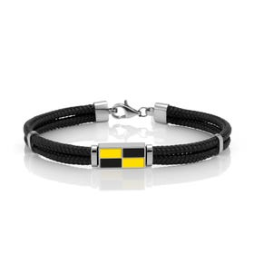 Nautical Flag Yellow & Black Cord Bracelet
