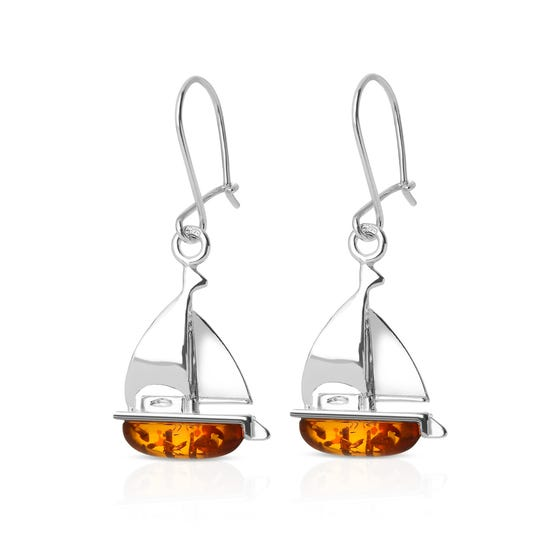 Cove Silver & Amber Yacht Earrings