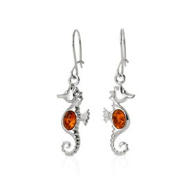 Cove Silver & Amber Seahorse Earrings