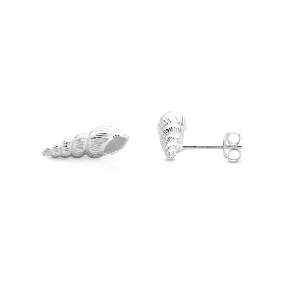Cove Silver Auger Shell Stud Earrings