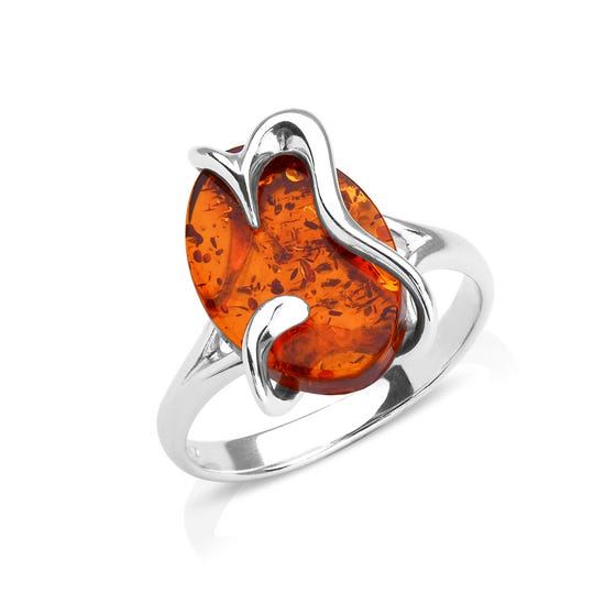 Silver Waves Amber Ring