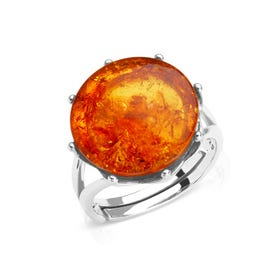 Silver Wave Crown Amber Ring