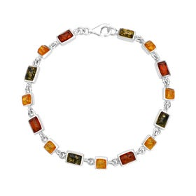 Silver Square and Rectangle Amber Bracelet