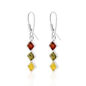 Silver Multi-Coloured Amber Earrings