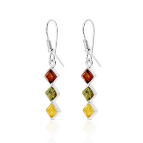 Silver Multi-Coloured Amber Earrings