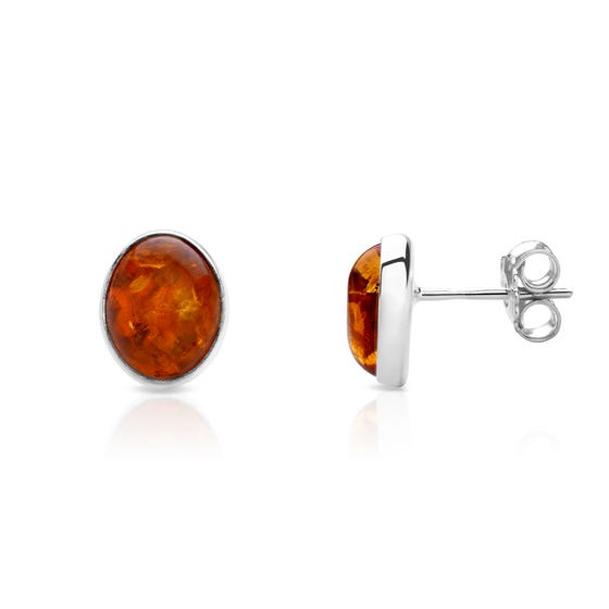 Silver Small Oval Amber Stud Earrings