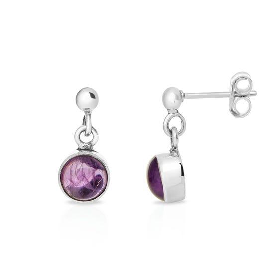 Silver Round Amethyst Drop Earrings