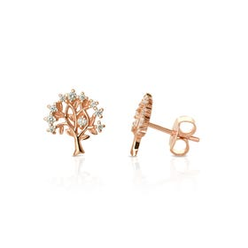 Rosa Rose Gold Plated Silver Tree of Life Earrings