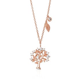 Rosa Rose Gold Plated Silver Tree of Life Necklace