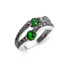 Marcasite & Emerald CZ Silver Ring