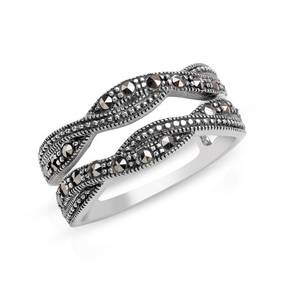 Marcasite Double Silver Ring