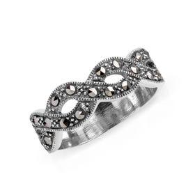 Marcasite Open Twist Silver Ring