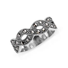 Marcasite Open Twist Silver Ring