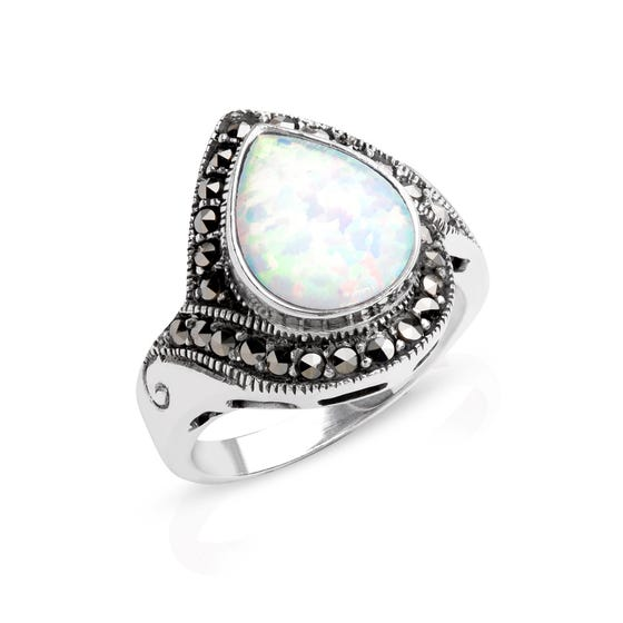 Marcasite & Opalite Pear Shape Silver Ring