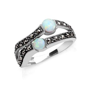 Marcasite & Opalite Open Twist Silver Ring