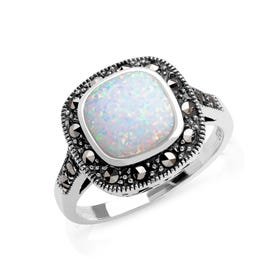 Marcasite & Opalite Silver Ring