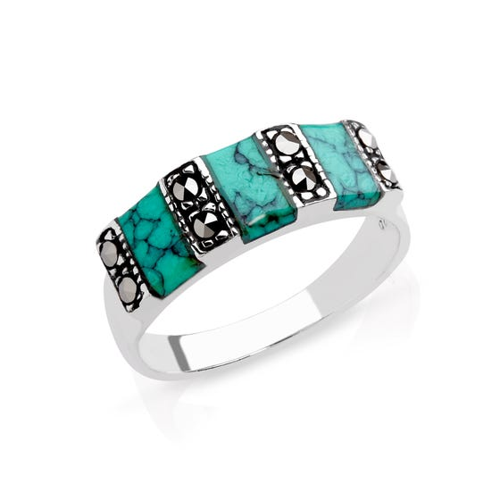 Marcasite & Turquoise Stone Set Silver Ring