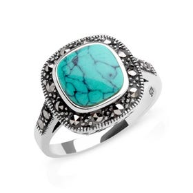Marcasite & Turquoise Silver Ring