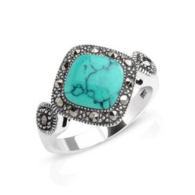Marcasite & Turquoise Stone Silver Ring