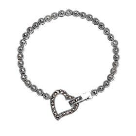 Marcasite Open Heart Silver Bracelet