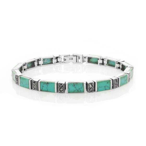 Marcasite & Turquoise Silver Bracelet