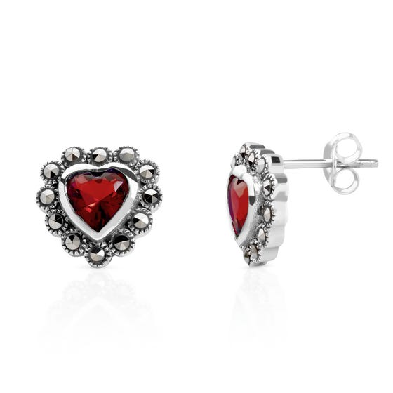 Marcasite & Garnet CZ Silver Heart Earrings