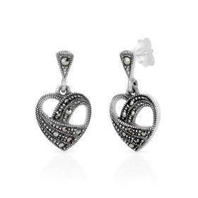 Marcasite Open Heart Silver Drop Earrings