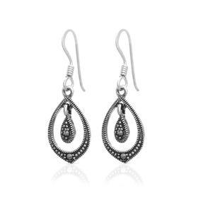 Marcasite Open Teardrop Silver Earrings