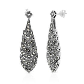 Marcasite Layered Silver Drop Earrings
