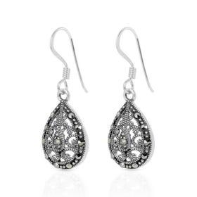 Marcasite Ornate Teardrop Silver Earrings
