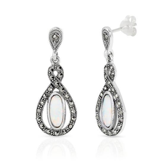 Marcasite & Opalite Open Teardrop Silver Earrings