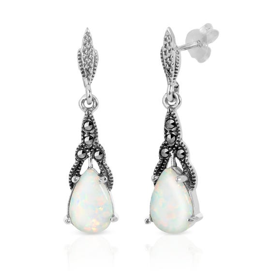 Marcasite & Opalite Teardrop Silver Earrings