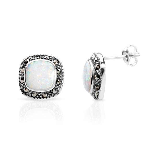 Marcasite & Opalite Silver Earrings