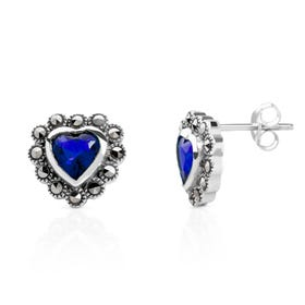 Marcasite & Sapphire CZ Heart Silver Earrings