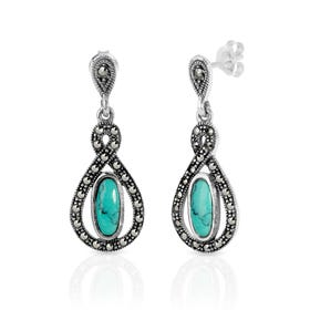 Marcasite & Turquoise Open Teardrop Silver Earrings