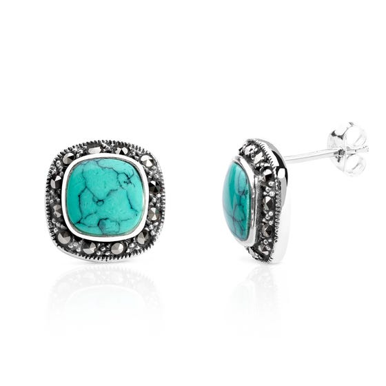 Marcasite & Turquoise Silver Stud Earrings