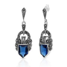 Marcasite & Sapphire CZ Ornate Silver Earrings