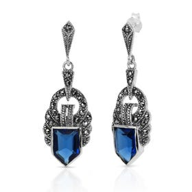 Marcasite & Sapphire CZ Ornate Silver Earrings