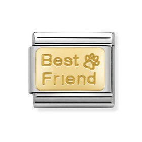 Classic 18ct Gold Best Friend Paw Print Charm